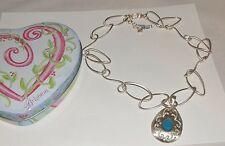 Brighton JUPITER Silver Blue Swaroski Crystal JN647A Necklace+ Heart Tin New NWT