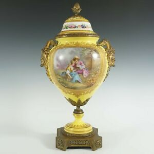 Antique French Sevres Style Hand Painted Porcelain Urn Vase Satyr Bronze Handles