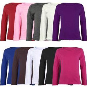 Kids Plain Basic Top Long Sleeve Girls Boys T-Shirt Tops Tee 2-13 Years