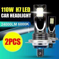 2Pcs/Set H7 110W 24000Lm LED Car Headlight Conversion Globes Bulb Beam 6000K