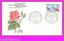 1969//ENVELOPPE-FDC 1°JOUR*FLORALIES-SALON DE LA ROSE-PARIS*TIMBRE Y/T.1597