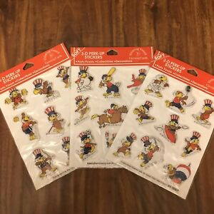 Lot: 3 NEW Sheets Vtg 1984 L.A. Olympics SAM 3D Puffy Stickers 1980 1981 1982
