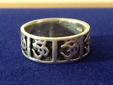 STERLING SILVER TRIBAL SYMBOLS BAND RING SIZE 8 Marked 925