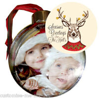 PERSONALISED PHOTO CHRISTMAS BAUBLE | DOUBLE SIDED ADD NAME |  TREE DECORATION 4