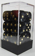 PACK OF 12 PEARL BLACK DICE - 6 SIDED & 15mm SIDES !!