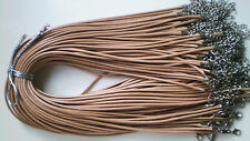 Wholesale Khaki Lot 10pcs PU Leather String Necklace Cord 50cm