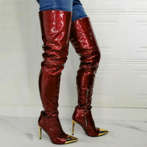 Women Sexy High Heels Thigh High Boots Pointed Zip Up Patent Leather Party Shoes