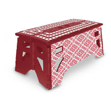 eXpace 13 Inch Wide Heavy Duty Portable Folding Step Stool, Red and Blue