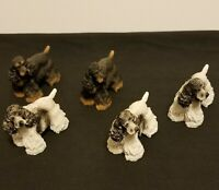 """Lot of 5 Cocker Spaniels - Hand Painted - Collection Dogs 3"""" T x 3"""" W"""