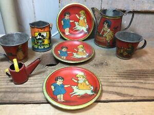 Vintage Childs Toy Tin Litho Metal Girls Boys Dogs Teapots Cups Saucers - Mickey