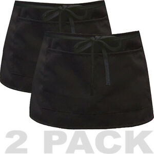 2 Pack - Apron Bib Bistro Bar Cafe Pub Waiter Waitress - Half Size BLACK