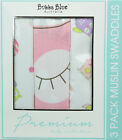 Bubba Blue BABY OWL GIRL Pack of 3 2Ply Cotton Printed Muslin Swaddles
