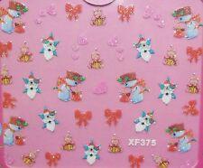 Accessoire ongles :nail art,Stickers noël : bonhomme de neige, coeurs et ours