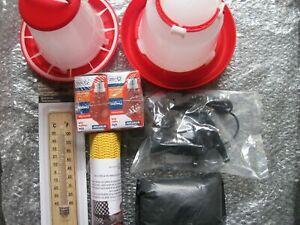 Chick Brooder Starter Kit .1.5 Litre Drinker & 1 KG Feeder, 2 bulbs, lamp, therm