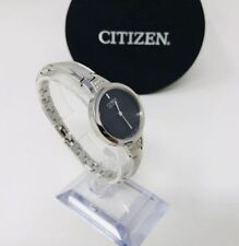 Citizen Womens Eco Drive Stainless Steel B023-S081122 Black Dial Watch Pre-owned