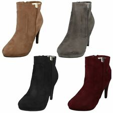 F50679- Ladies Spot On Heeled Microfibre Ankle Boots- 3 Colours- SALE!!