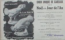 PUBLICITE A LA PAIX GEO ROUARD PORCELAINE DE COPENHAGUE DE 1909 FRENCH AD PUB