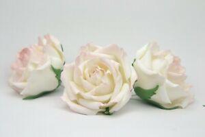 "garden sugar roses 3"" set of 3 handmade cake toppers wedding decoration white"