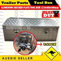 Aluminium Top Open Tool Box 1210 450 480 mm Opening Ute Trailer Toolbox Checker
