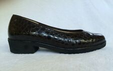 """ARA """"MIELY"""" BROWN PATENT LEATHER CROCO SLIP ON LOAFER PUMP FLAT UK 4.5 US 6.5"""