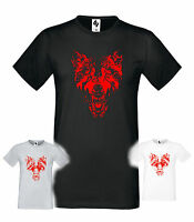 Mens Designer Wolf Fashion Short Sleeve halloween Crew Neck T-shirt