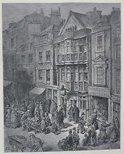 Doré-Londres; 'dejaron Street' , antiguo grabado en madera, C.1870