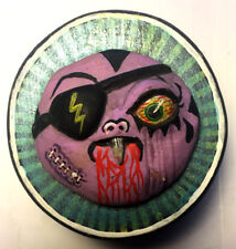 Small Hand Sculpted Vampire Eyepatch Ghoul Wood Monster Box - One of a kind