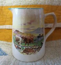 ANTIQUE PITCHER SCENE OF CATTLE & MOUNTAINS Stoneware BCM/NELSON WARE England