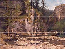 Mountainous Landscape With Stream Tile Mural Kitchen Backsplash Ceramic 17x12.75