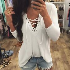 Fashion AU Women Long Sleeve V-Neck T-Shirt Blouse Casual Loose Tops Shirt Tee
