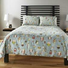 M Style Hoot Owl King Duvet Cover Pale Blue 100% Cotton Birds Modern
