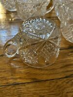 Antique ABP American Brilliant Period 10 punch cups multi-pointed hobstar glass