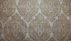 Elegant Damask Scroll Gold Natural Linen Cotton Upholstery Fabric By The Yard