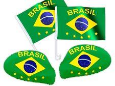 4 tlg. Auto-Fanset Spiegel-Überzug Brasilien WM Fanpaket Auto-Flaggen Auto-Fahne
