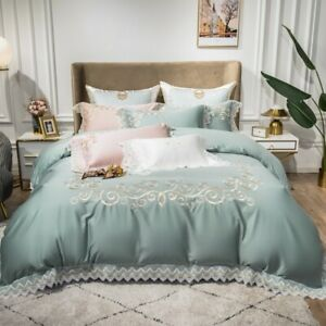 Lace embroidery bedding set 4pcs 140S Cotton quilt cover flat sheet pillowcases
