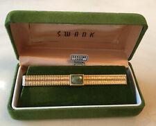 Vintage Swank Tie Clip Bar Clasp , Genuine Jade Main Stone