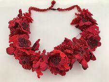 Crochet Choker, Beaded Crochet Hair Piece, Red Boho Seed Bead Collar, Oya, Gift,