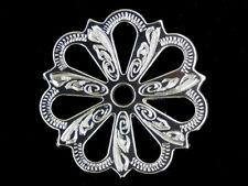 Western Tack Bright Silver Filigree Concho Adapter