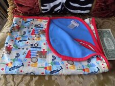 ZUTANO  Blue/Red Airplanes Wheels Travels Baby Blanket 100% Cotton