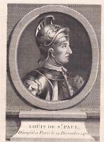 Portrait XVIIIe Louis de Luxembourg Comte Saint-Pol de Conversano Siège  Dieppe