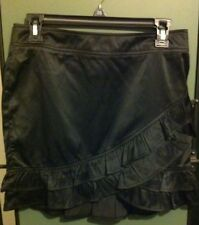 Have & Have Sexy Black Silky Ruffle Skirt Size Medium
