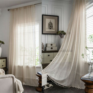 Vintage Cotton Hollow Curtains for Living Room Tassel Window Drapes Bedroom Home