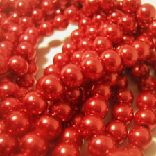 50 Red Imitation Pearl Glass Beads, 8mm, Jewelry Supplies, Glass Beads  G1203