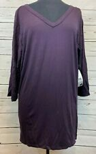 Karen Kane Purple 3/4 Sleeves Top Blouse Shirt Sheer Black Back Size 2X NEW NWT
