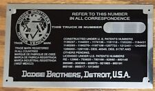 Dodge Brothers TRUCK Data Plate Especially for Pre-Chrysler Corp 1918 - 1926