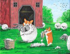 8X10 Folk Art Print Of Painting Funny Pets Dog Ryta Pembroke Welsh Corgi Sheep