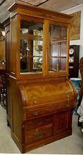 American Antique Burl Walnut Victorian Roll Top Secretary Desk Bookcase C 1870