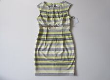 NWT Calvin Klein Yellow Striped Cap Sleeve Pleated Belted Sheath Dress 12