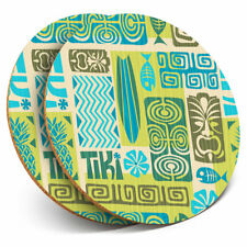 2 x Coasters - Awesome Green Surf Tiki Pattern Home Gift #14380