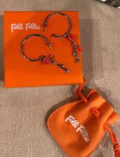 FOLLIE FOLLIE Silver Hoop Earrings with orange rose Detail  BNIB